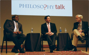Ken Taylor, Christopher McKnight Nichols, and John Perry on Philosophy Talk, April 2, 2014 (photo by Nicki Silva, for the Daily Barometer)