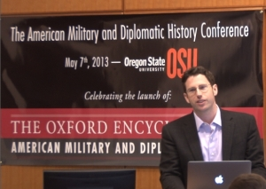 Nichols speaking at the Oregon State University American Military and Diplomatic History Conference, May 7, 2013